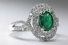 ANTIQUE 18K WHITE GOLD LADIES OVAL CUT EMERALD & HALO SETTING DIAMOND RING 2.08C