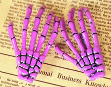 2pcs Purple Skeleton Hand Bone Hair Clips Hairpins Punk Zombie Halloween Party
