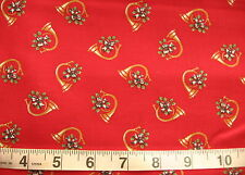 1 1/2 yd Cotton Fabric Red with Golden Horns/Green Ivy/Ribbon Bow