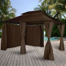 Brown Garden Gazebo Waterproof Outdoor Canopy Curtained Marquee Patio Sun Tent