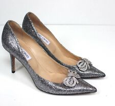 Jimmy Choo Silver Glitter Crystal Bow Pointed Heels 41 uk 8