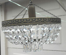 VINTAGE LARGE FRENCH CRYSTAL BAG CHANDELIER CEILING LIGHT