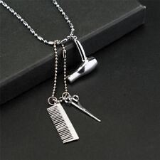 Cosmetologist hair dresser Silver necklace Scissors hairdryer stylist jewelry