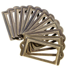 12pcs Vintage Brass Label File Name Card Holder Cabinet Drawer Board Pull Knobs