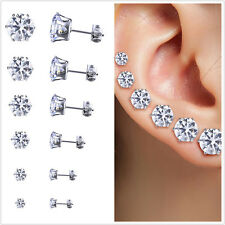 Stainless Steel Round Women Stud Earrings Cubic Zirconia Inlaid 3mm-8mm 6PairNew