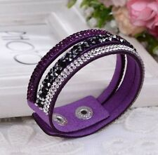 New Crystal Rhinestone Leather Wrap Wristband Cuff Punk Purple Bracelet Bangle