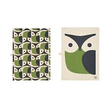 NEW Orla Kiely Owl Tea Towel Set of 2 Green Gray