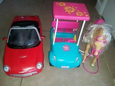 Lot 3 Barbie Accessories:Vintage Red Thunderbird Car, Walking Horse, Golf Cart