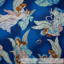 BonEful Fabric FQ Cotton Quilt Blue White Flower Tooth Fairy Angel Girl Dress US