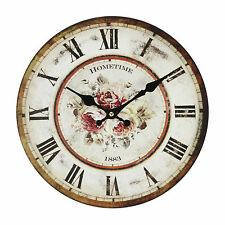 "SHABBY CHIC ROSE FLORAL  MDF WALL CLOCK  "" ROSIE """