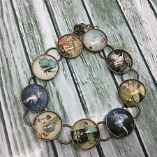Fairy illustration Charm Bracelet 8 inches long Ant Bronze with Glass Cabochons