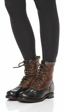New $398.00 FRYE Leather Veronica Duck Genuine Shearling Lace Up Boot Women sz 7