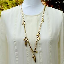 Long Antic Gold Chain Black Stone Necklace Statement Fringe