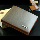 NEW Men's Designer Brown PU Leather Bifold Wallet Credit Card Holder Purse