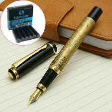 BAOER-507-fountain-pen-meduim-nib-EIGHT-RUNNING-HORSES-bronzy+6-cartriges Black