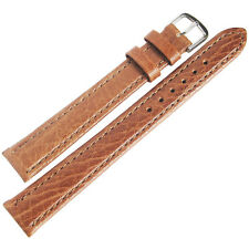 14mm Mens Fluco Record Tan Buffalo-Grain Leather German Made Watch Band Strap