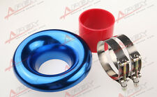 "New 4"" BLUE UNIVERSAL VELOCITY STACK FOR COLD/RAM ENGINE AIR INTAKE/TURBO HORN"