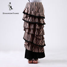 SHARON TANG Modest Apparel Long Brown Stretch Knit Ruffle Layer Maxi Skirt M