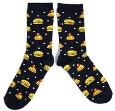 LADIES PIZZA BURGER FAST FOOD MIDNIGHT BLUE SOCKS UK 4-8 EUR 37-42 USA 6-10