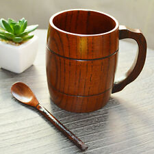330ml Wooden Tea Cup Wood Beer Mug Handcrafted Drinking Cup Handle Spirit Mug