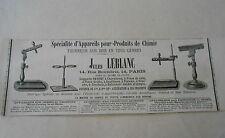 Appareils pour produits de Chimie Jules Leblanc Pub 1887