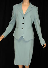 ESCADA Wool Blend Blue Fitted Jacket 38 8 NWT Straight Skirt 40 10 Skirt Suit