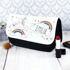 Personalised Unicorn Name Make Up Wash Bag Birthday Christmas Gift Present Kids