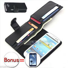 Black Galaxy S3 i9300 Case Leather Wallet Cover For Samsung