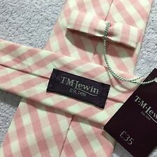 NEW MENS T.M.LEWIN 7.5cm SLIM PINK WHITE GINGHAM CHECK LUXURY COTTON TIE GIFT