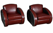 New Pair of Red Leather Retro Art Deco Streamline Moderne Arm Chairs Chrome