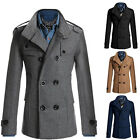 Men's Stylish Trench Coat Winter Jacket Double Breasted Overcoat Outwear Peacoat