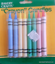 CRAYOLA CRAYON CAKE Party CANDLE Birthday Cupcake Decoration Supplies Color x8