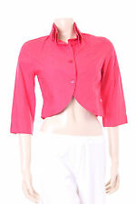New Red Cotton Jacket Kokomarina Designer Ladies Top Size M Double Collar