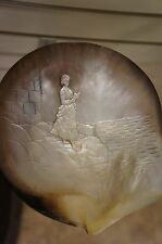 Antique Carved Mother of Pearl Shell Woman Rocks Reading Ocean