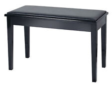 NJS Piano Electric Keyboard Black Bench Stool With Storage Compartment
