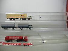 AI719-1# 3x Wiking H0 LKW Hanomag/Henschel: WM Transporte+Wackenhut etc