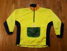 FILA 1/2 zip pullover windbreaker LG multi-color block spell out VTG 90s nylon