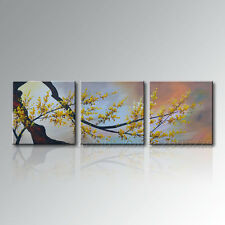 Framed Handmade Modern Canvas Wall Art Abstract Asian Plum Blossom Oil Painting