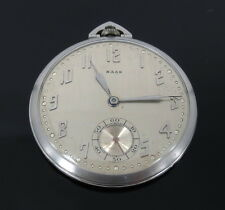 Antique Haas Open Face Very Thin Platinum Pocket Watch