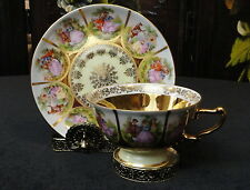 Vintage CN W Germany FRAGONARD COLONIAL COUPLE Love Story  TEA CUP & SAUCER Gold