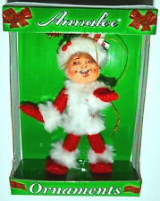 "Annalee Christmas Red SHIMMERMINT ELF Tree Ornament 4"" w/ SANTA HAT NEW IN BOX!"