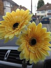 2  YELLOW DAISY 15cm GERBERAS VW BEETLE, ANY CAR DASH BUD FLOWER, UNIVERSAL