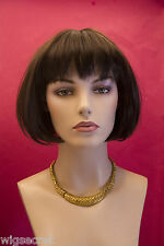 Dark Brown Medium Straight Bob Wig Bangs