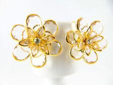 Modeschmuck Ohrringe Ohrhänger vergoldete  Blume  Kristall Strass von Catia Levy