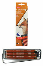 Derwent Soft Drawing Pencils Set - 6 Neutral Brown Colours with Tin & Sharpener