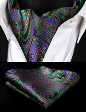 RP927GS Purple Green Paisley Men Silk Cravat Scarves Ascot Tie Handkerchief Set