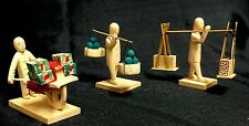 CHARMING SET OF 3 VINTAGE HAND CARVED WOODEN JAPANESE MINIATURES #3