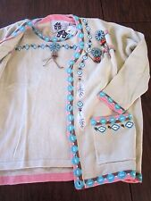 NWT STORYBOOK KNITS Womens Indian Chief Cardigan& Vest Sweater 2 PC SET Sz L/1x