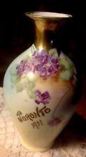 Royal Vienna Austria Antique Vase w Violets & Gold Trim - Toronto 1911 In Gold