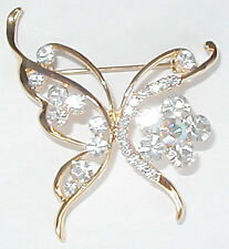 CLEAR SHINING BUTTERFLY PIN/BROOCH SWAROVSKI CRYSTAL NW
